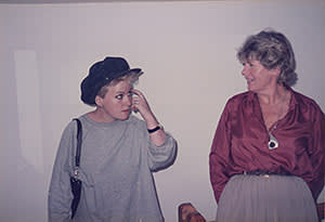 Nicola Hicks, left, and Angela Flowers (in 1984, when Hicks exhibited)