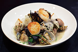 Frumenty with roast scallops, clams, pickled dulse and sea beet