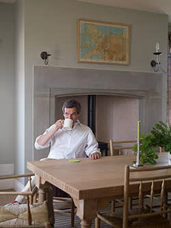 Ben Pentreath inside a village home he designed at Coed Darcy