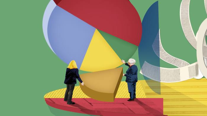 Illustration of analysts looking at pie chart