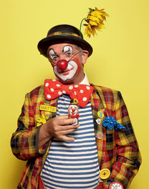 Matthew Faint with his 'clown egg', which acts as a copyright of his individual make-up style