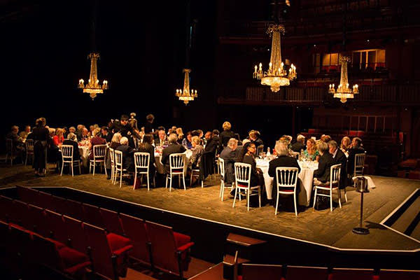 Dinner on stage for supporters at the RSC in Stratford
