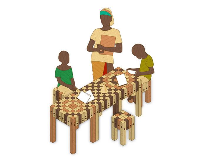 Designs for Christ & Gantenbein's furniture for Mwabindo School