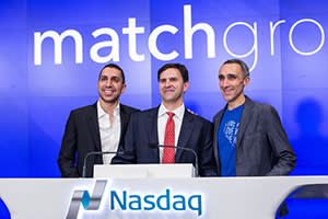 Digital entrepreneurs, left to right, Sean Rad, CEO of Tinder, Greg Blatt, chairman of Match Group and Sam Yagan, CEO of Match Group, celebrate Match.Com's IPO