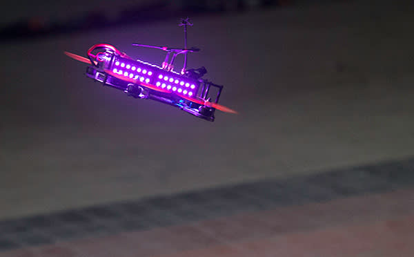 Drone Racing League race, Level 2. A commercial drone racing competition in which drone pilots operate and race high performance drones