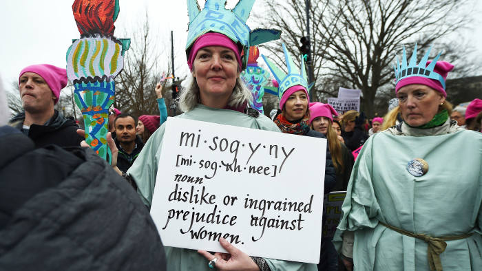 Protesters participate in the Women's March, in Washington, DC, on January 21, 2017. Hundreds of thousands of people flooded US cities Saturday in a day of women's rights protests to mark President Donald Trump's first full day in office. / AFP / Robyn BECK (Photo credit should read ROBYN BECK/AFP/Getty Images)
