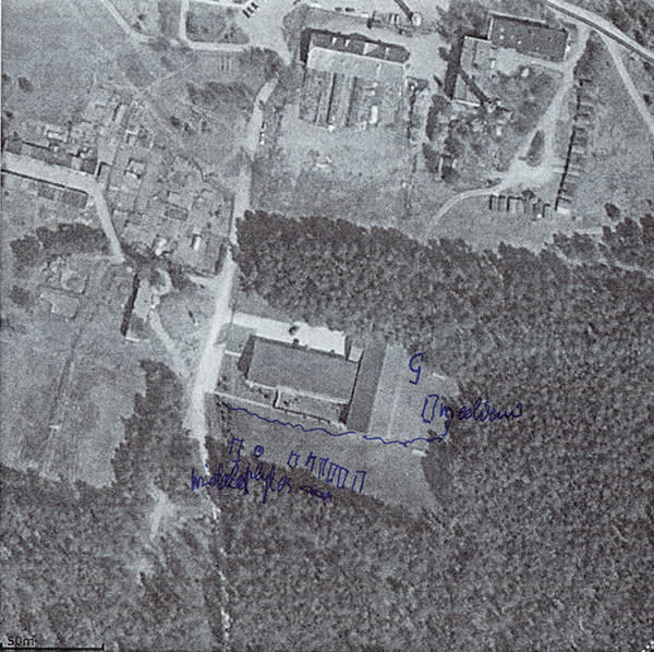 Lithuania. Satellite view of a former riding stables in the village of Antaviliai, annotated by a local resident to show building works, 2004