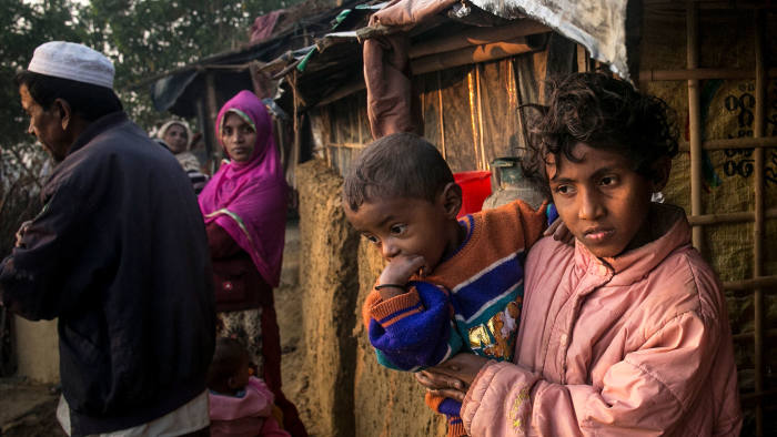 Refugees are seen in Kutapalong Rohingya refugee camp on February 8, 2017 in Cox's Bazar, Bangladesh