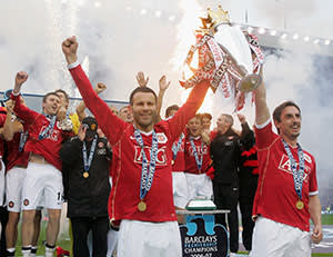 Ryan Giggs and Gary Neville celebrating victory in the 2007 Premier League