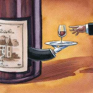 An illustration by Ingram Pinn depicting how the Coravin wine access system preserves the freshness of wine vintages