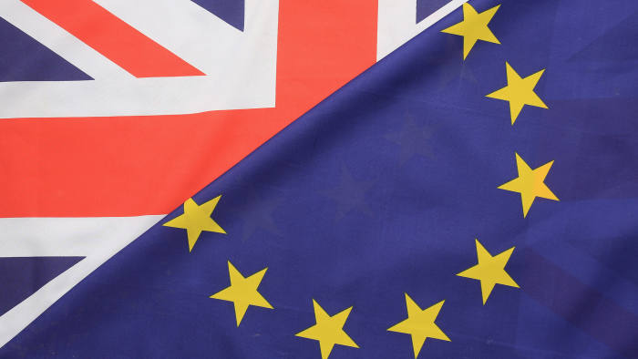 KNUTSFORD, UNITED KINGDOM - MARCH 17:  In this photo illustration, the European Union and the Union flag sit together on March 17, 2016 in Knutsford, United Kingdom. The United Kingdom will hold a referendum on June 23, 2016 to decide whether or not to remain a member of the European Union (EU), an economic and political partnership involving 28 European countries which allows members to trade together in a single market and free movement across its borders for citizens.  (Photo illustration by Christopher Furlong/Getty Images)