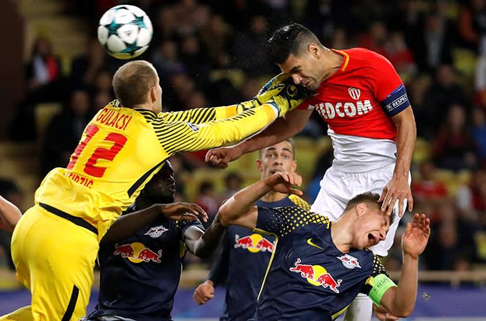 Soccer Football - Champions League - AS Monaco vs RB Leipzig - Stade Louis II, Monaco - November 21, 2017 Monaco's Radamel Falcao scores their first goal REUTERS/Eric Gaillard TPX IMAGES OF THE DAY