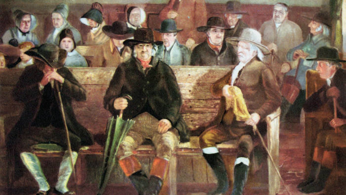 Quaker meeting. After painting of 1839.