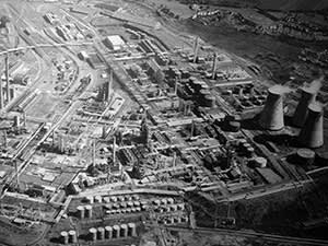 Llandarcy oil refinery in the 1960s