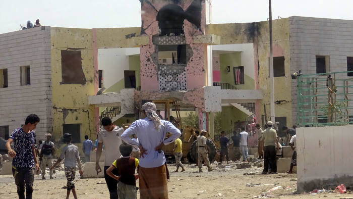 A car laden with explosives was driven into a compound in the port city of Aden
