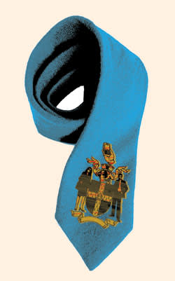 a blue tie with crest