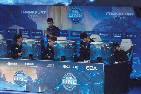 The five players with the team Evil Geniuses at the esports tournament ESL One in Frankfurt
