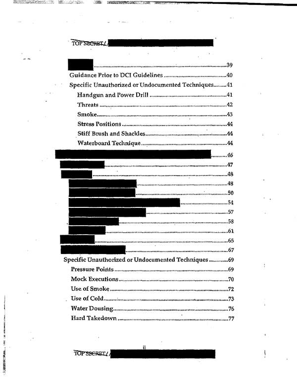 A page from the CIA's Special Review: Counterterrorism Detention and Interrogation Activities (September 2001-October 2003), dated May 7 2004. In 2004, after complaints by government officials, the CIA's inspector-general conducted a review of the first two years of the agency's detention and interrogation activities. It examined the range of 'enhanced interrogation techniques', including ways in which interrogators had exceeded authorised methods. Much of the report was redacted on its eventual declassification and publication in 2009