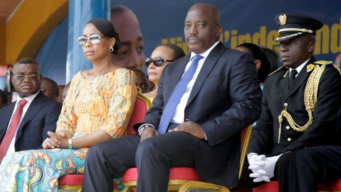 Democratic Republic of the Congo's President Joseph Kabila (2nd R) and First Lady Marie Olive Lembe attend the anniversary celebrations of CongoÕs independence from Belgium in Kindu, the capital of Maniema province in the Democratic Republic of Congo, June 30, 2016. REUTERS/Kenny Katombe/File Photo
