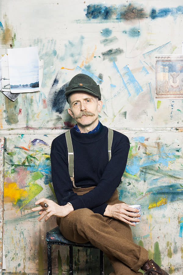 Billy Childish at his studio in London