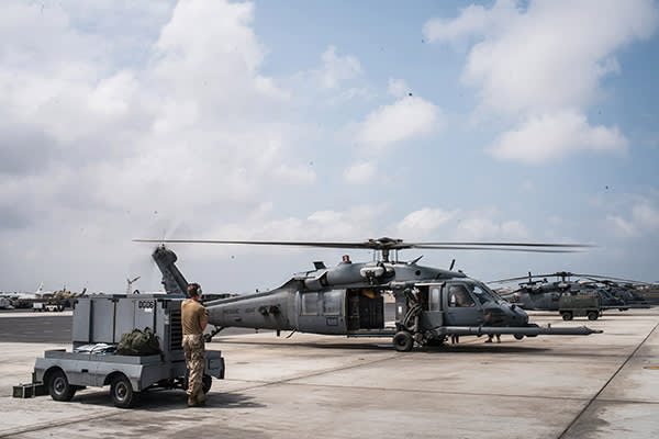 HH-60 Pave Hawk helicopter at the base's airfield