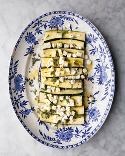 Grilled courgettes with feta, lemon and oregano