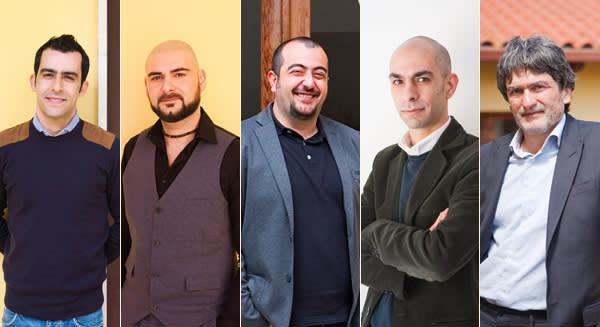 The founders, from left: Gabriele Littera, Piero Sanna, Carlo Mancuso, Giuseppe Littera and Franco Contu