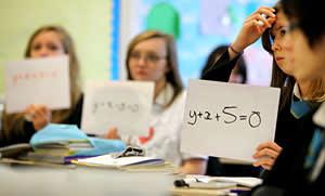 Pupils at Williamwood High School attend a math class