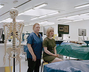 Sue Black and Helen Meadows in the dissection room