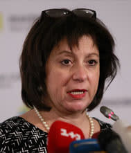 Natalie Jaresko...FILE - Ukraineís recently appointed Finance Minister Natalie Jaresko, a U.S. national who adopted Ukrainian citizenship to take up her post, speaks at a news conference in Kiev, Ukraine, in this Feb. 16, 2015 file photo. War-torn Ukraine is a long way from Wood Dale, Illinois. But Natalie Jaresko, the countryís new finance minister who was born and raised in the Chicago suburbs, says she feels just as much at home here as she takes on a daunting task: overhauling a Soviet-era economy at a time when public finances are being drained by war.  (AP Photo/Sergei Chuzavkov, File)