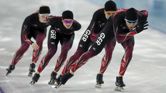 Members of the German speedskating team practice at the Adler Arena on the Olympic Park as preparations continue for the Sochi 2014 Winter Olympics