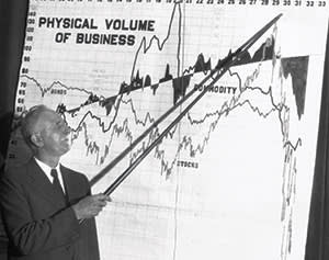Roger Babson points to a graph; Philadelphia, 1932