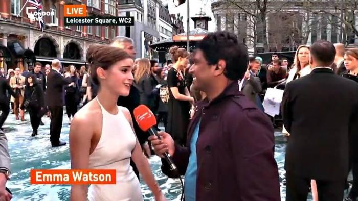 Emma Watson being interviewed on new TV channel london Liv