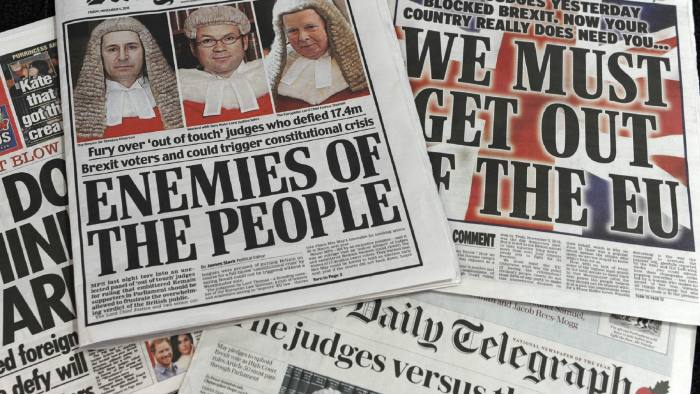"""A selection of the front pages of British newspapers taken on November 4, 2016 following the High Court ruling yesterday that the Conservative government do not have the power on their own to trigger Article 50 of the Lisbon Treaty. The court's decision sparked fury among newspapers that backed Brexit, accusing the judges of """"betraying"""" the 17.4 million people who voted to leave the EU.   / AFP PHOTO / Benjamin FATHERSBENJAMIN FATHERS/AFP/Getty Images"""