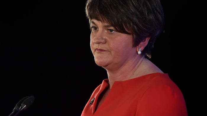 BELFAST, NORTHERN IRELAND - NOVEMBER 25: Democratic Unionist Party leader Arlene Foster gives her leader's speech during the annual DUP party conference at La Mon House on November 25, 2017 in Belfast, Northern Ireland. The party conference is the first since the general election which saw the DUP becoming political kingmakers to the Conservative party's minority government. The conference also takes place in the shadow of a political vacuum at Stormont were there has been no government since the collapse of the Northern Ireland power sharing executive following the resignation of the late Martin McGuinness in January as Deputy First Minister. (Photo by Charles McQuillan/Getty Images)