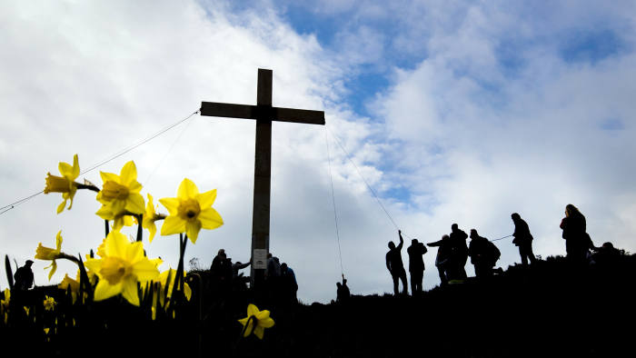 PABest Over 50 people install the 36-feet high cross ahead of Easter on Surprise View at the top of Otley Chevin in Yorkshire. PRESS ASSOCIATION Photo. Picture date: Saturday April 1, 2017. The cross on the Chevin, first installed in 1969, has now become a well-known Easter symbol and is erected two weeks before Easter and removed two weeks after. The cross has been installed every year apart from 2001 because of restrictions caused by foot and mouth disease. Photo credit should read: Danny Lawson/PA Wire