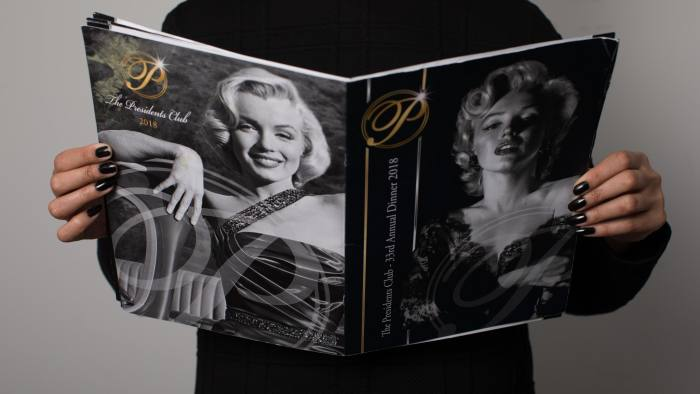 The Presidents Club:  glossy programme of the annual dinner's charity auction lots