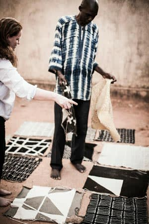 Rebecca Hoyes, of Habitat, and designer Boubacar Doumbla in Mali