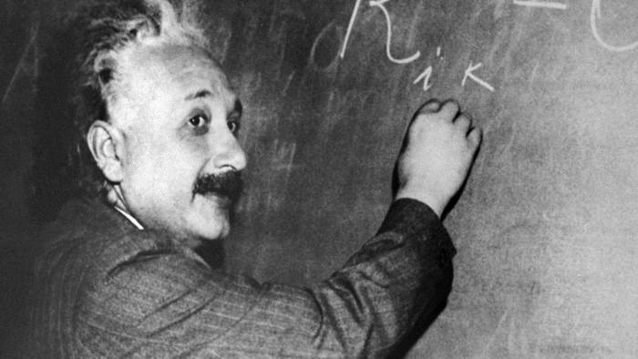 PRINCETON, UNITED STATES: (FILES) January 1931: German-born Swiss-US physicist Albert Einstein (1879-1955) delivers a lecture at the offices of the Mt. Wilson Observatory, on Santa Barbara Street in Pasadena, California. He is the author of the theory of relativity, awarded the Nobel Prize for Physics in 1921. Germany, the birthplace of Albert Einstein, launches 19 January 2005 a year of international celebrations to mark the 100th anniversary of three of the physicist's four papers that changed the way we view the Universe. AFP PHOTO/FILES/INP (Photo credit should read -/AFP/Getty Images)