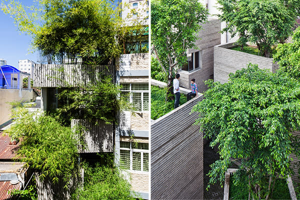 Left: The vertical garden at House for Trees, covering five storeys; Right: The roof of House for Trees