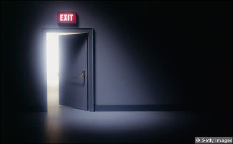 A door with an exit sign