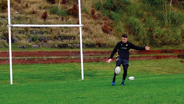 Fly-half Beauden Barrett practises his kicking