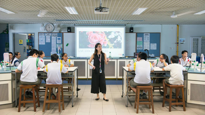 A science class at Admiralty secondary school, Singapore