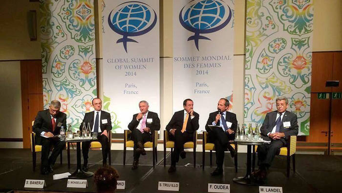 a panel made up of men at the Global Summit of Women
