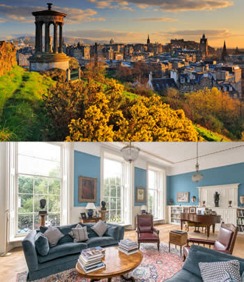 Dugald Stewart Monument in Edinburgh; house with eight bedrooms in the city's New Town area, £1.8m