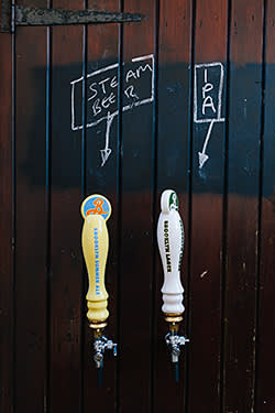 Beer taps on John Finch's shed – his neighbours and friends often pop round for a pint