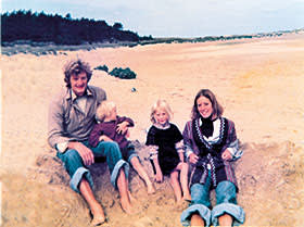 James, Jake, Emily and Deirdre on holiday in Holkham, north Norfolk, in 1977