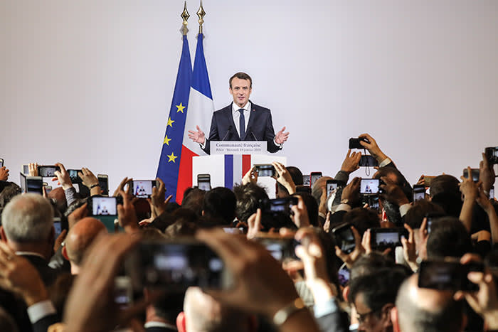 TOPSHOT - French President Emmanuel Macron delivers a speech to the French community at the country's embassy in Beijing on January 10, 2018. Macron is on the final day of his visit to the Chinese capital. / AFP PHOTO / Ludovic MARIN (Photo credit should read LUDOVIC MARIN/AFP/Getty Images)