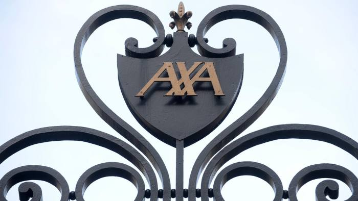 The AXA SA company logo sits outside the company's headquarters in Paris, France, on Thursday, Feb. 17, 2011. Axa SA, EuropeÕs second-biggest insurer, said 2010 profit dropped 24 percent after posting a loss on the sale of most of its U.K. life business. Photographer: Chris Ratcliffe/Bloomberg