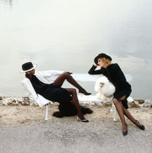 Jerry Hall and Iman for Vogue, Paris collections, 1982